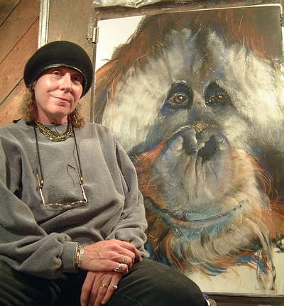 Artist Sue Buck with Azy Drawing